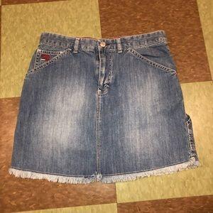 Tommy Hilfiger raw edge mini skirt 4 denim cargo